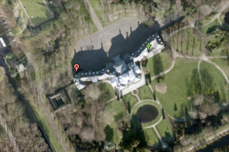 Дворец Хьюис Тен, Голландия. Сам королевский дворец на снимкахразмыт, но окружающую территорию при близком увеличении можно разглядеть в деталях.