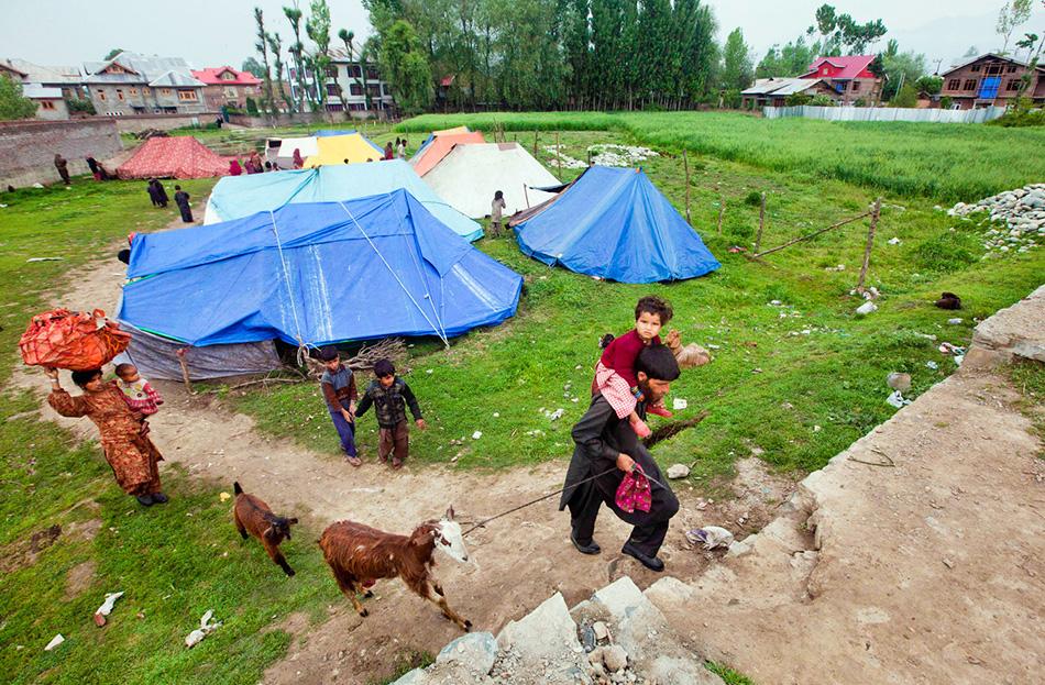 Семья покидает лагерь вместе со своими вещами и скотом.