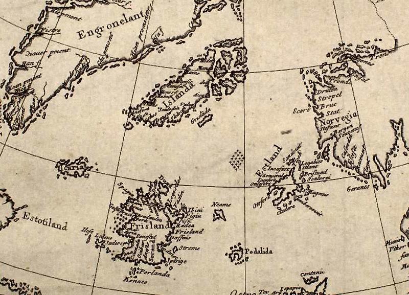 Остров Фрисланд Где находился: южнее Исландии, на той же долготе В 1558 году Николо Зено опубликовал карту и письма своих предков-мореплавателей, которые он случайно у нашел у себя дома. Согласно записям, в 1390-е годы братья Зено пересекли Северную Атлантику. В ходе экспедиции они открыли остров Фрисланд. Участок суши появлялся на картах Северной Атлантики с 1560-х по 1660-е годы. По одной из гипотез они неправильно определили положение одного из Фарерских островов и назвали один из них Фрисланд, по другой — все это было мистификацией, сделанной молодым Зено для обеспечения Венеции приоритета в открытии Нового Света до Христофора Колумба.