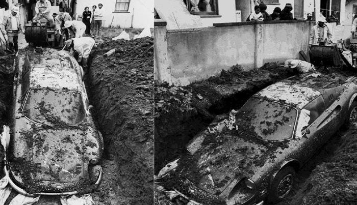 Феррари Играя и копаясь в земле на заднем дворе дома в Лос-Анджелесе, в 1978 году двое детей нашли автомобиль Ferrari Dino 246 GTS. После того как полиция выкопала машину, было установлено, что авто числится в угоне. Предполагается, что кража машины и ее последующее захоронение было частью страховой аферы. Найденную Ferrari передали страховой компании, после чего авто было выставлено на аукцион.
