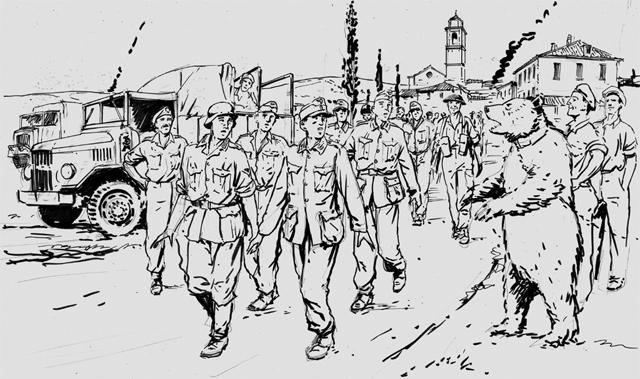 Как и все остальные воины роты, Войтек любил пиво, сладости и жевательный табак. Насыщенная жизнь кадрового солдата! Талисман артиллерийской роты, официально принятый на службу в польскую армию, пережил и высадку в Италии, и тяжкую операцию прикрытия попавшей в котел 78-ой британской дивизии. Эта битва стала для Войтека звездным часом.