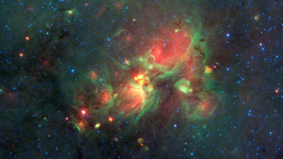 Основы массивных звезд, по размерам больших, чем вся наша Солнечная система. Снято телескопом Спитцер в структуре NGC 7714.