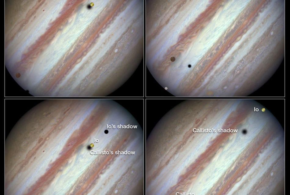 Юпитер и его 4 спутника, которые были открыты еще в 1610 году самим Галилеем.