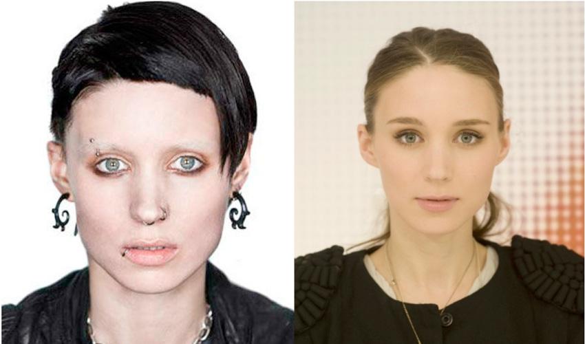 Руна Мара Когда Руни Мара получила роль хакера Лисбет Саландер в фильме «Девушка с татуировкой дракона», у актрисы не было даже сережек в ушах, не говоря уже о других частях тела. Таким образом, растворение в образе Лисбет для Руни началось с пирсинг-салона, где она проколола уши, губу, бровь, нос и соски. Затем она покрасила волосы в черный цвет, коротко постриглась, отбелила лицо и нанесла временную татуировку. Актриса сказала, что в таком «камуфляже» она чувствовала себя как в каком-то костюме, даже когда оставалась полностью обнаженной.
