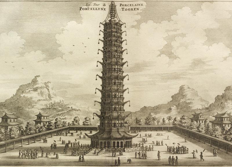 Фарфоровая пагода, Китай Буддийский храм в Нанкине был возведен во времена китайской династии Мин. Восьмигранная 78-метровая пагода была сложена из белого «фарфорового» кирпича. Наряду с Тяньцзе и Лингу, во времена династии Мин сооружение считалось одним из трех знаменитых храмов города, а европейские путешественники называли башню одним из главных чудес Китая. В 1801 году три верхних яруса башни были повреждены ударом молнии. Храм восстановили, но в 1856 году строение снесли тайпины, опасавшиеся, что враги могут использовать башню в качестве наблюдательного пункта.