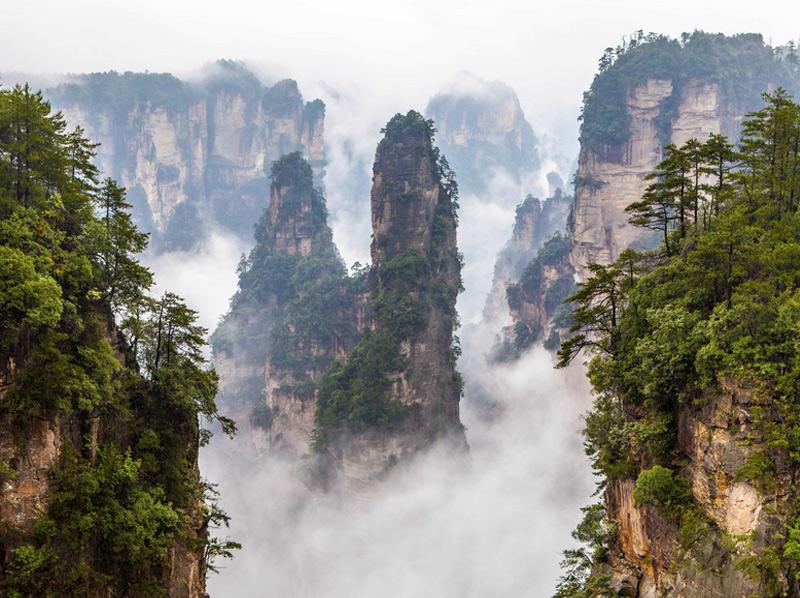 Парк Чжанцзяцзе На территории старейшего из национальных парков Китая обитает более 500 видов животных и находятся невероятные по красоте скалы Улинъюань, ставшие прототипом пейзажей планеты Пандора из фильма «Аватар». Высота самых высоких пиков достигает 3 километров. Скалы покрыты растительностью и деревьями, чей возраст насчитывает несколько сотен лет.