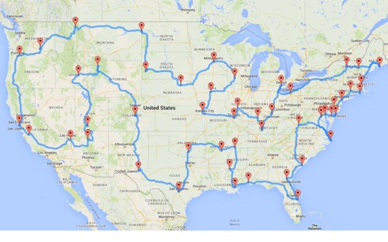 Большая прогулка Эта картасамого эффектного маршрута, проходящего через 50 точек, где находятся главные достопримечательности Соединенных ШтатовАмерики. Это точно не самый лучший маршрут для поездки из одного края страны в другой, но он отлично подходит, если собираетесь когда-нибудь посетить Америку, чтобы совершить двух-трехмесячный дорожный трип.