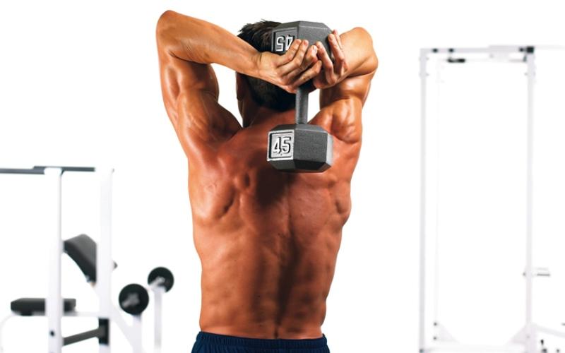 Подъем гантели из-за головы Вы должны взять гантель двумя руками за середину. Заведите руки с гантелей себе за спину, согнув руки в локтях, и на выдохе поднимите ихнад головой. Очень важно не помогать себе плечами выполнять это упражнение, и держать локти как можно ближе к туловищу. Такая тренировка направлена на развитие силы трицепсов.