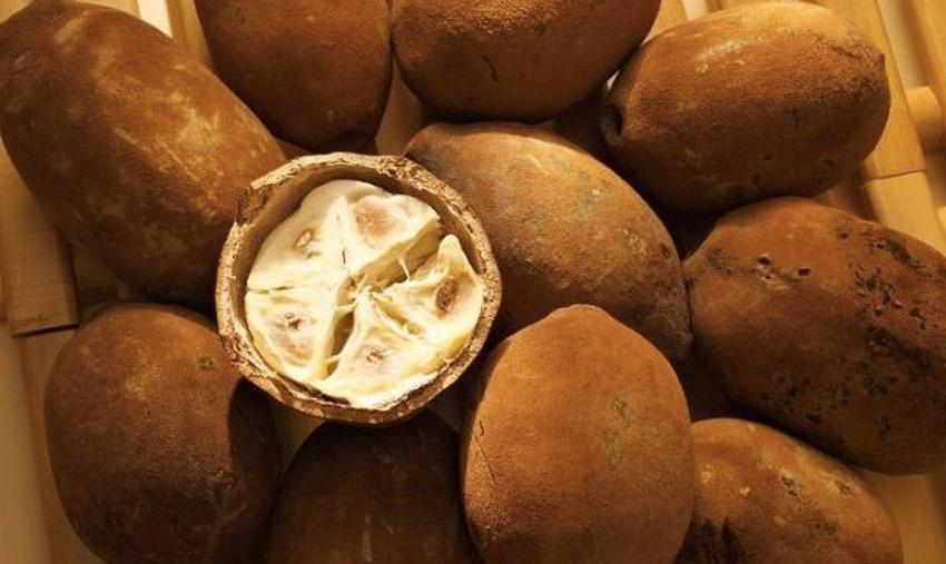 Купуасу      Фрукт обладает ни с чем не сравнимым вкусом и сильным ароматом. Пятую часть от объема плода занимают семена, в которых содержится до 50 % белого масла, близкого по своим свойствам к маслу какао. Они имеют более высокую температуру плавления, благодаря чему изготовленный из них шоколад не тает во рту. Помимо него из купуасу делают джемы, соки, ликеры, йогурты и едят в свежем виде. Фрукт наиболее широко культивируется в Южной Америке.