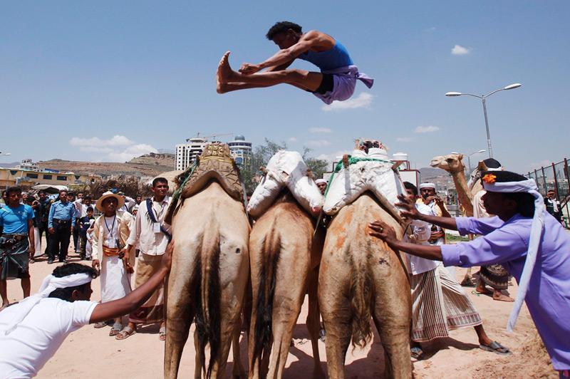 Прыжки через верблюдов В Йемене — эта диковинная для большинства частей света дисциплина является национальным видом спорта. Сначала соревнующиеся прыгают через 3х верблюдов, стоящих вплотную друг к другу, затем через 4, 5 и 6 верблюдов. Высшим пилотажем считается перемахнуть через 7 верблюдов. Обязательное условие состязания — при прыжке нельзя касаться спин верблюдов.
