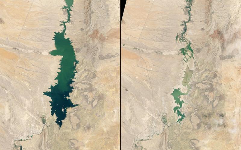 Обмеление водохранилищаСлон Бьютт Нью-Мексико Слева:1994 год Справа:2013год