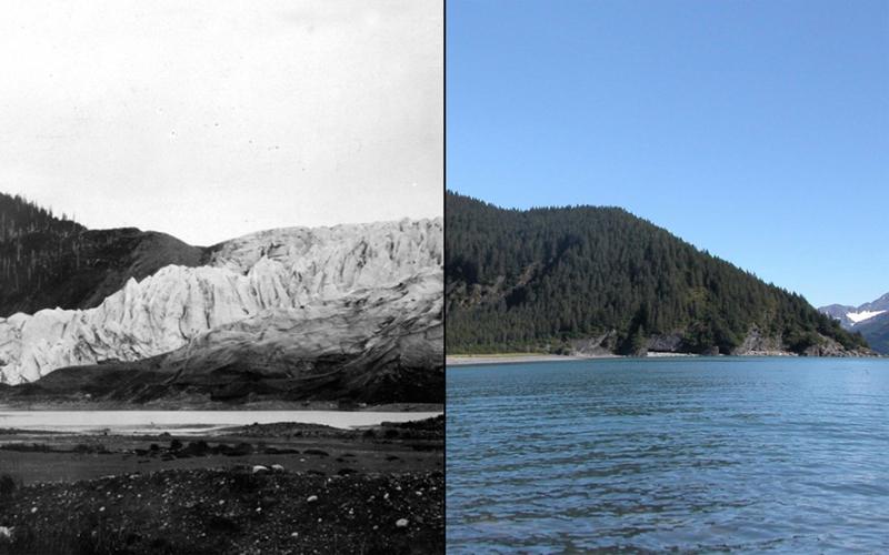 Таяние ледника Маккарти  Аляска  Слева: июль 1909 года Справа: июль 2004 года