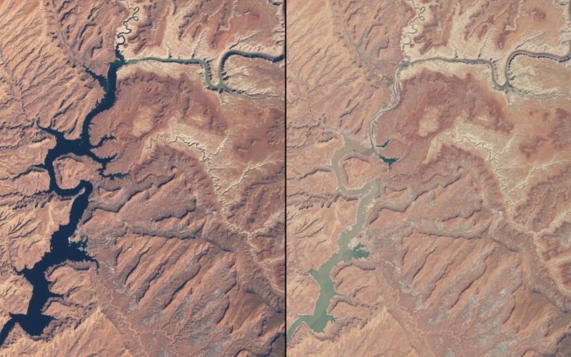 Обмелениерек  Аризона и Юта  Слева: март 1999 года Справа:май 2014 года