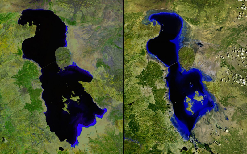 Обмеление озера Урмия  Иран Слева:2000 год Справа: 2013год