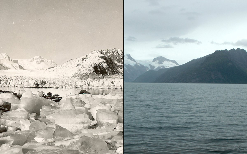 Таяние ледника  Северо-ЗападнаяАляска Слева: август 1940 года Справа:август 2005 года