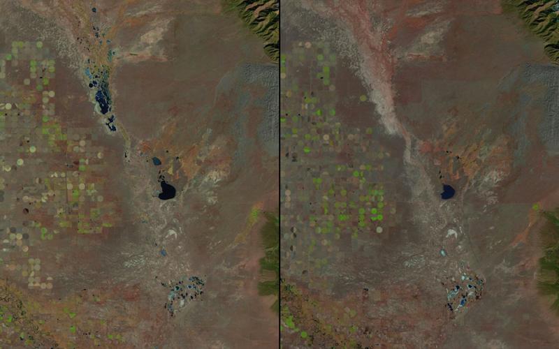 Обмелениеозер Великие Песчаные Дюны, Колорадо Слева: 1987 год  Справа: 2011 год