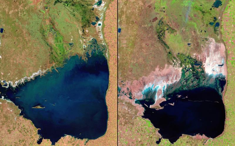 Обмеление озера Чикита Аргентина  Слева: 1998 год Справа:2011 год