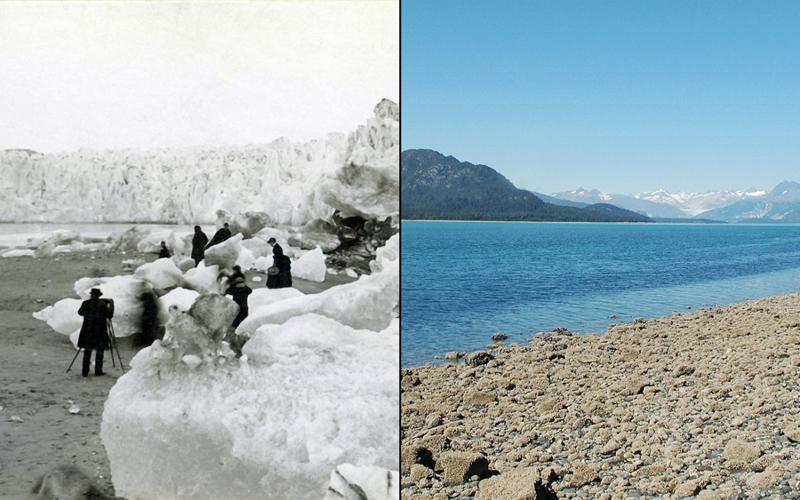Таяние ледника Мьюир  Аляска  Слева: 1882 год  Справа:2005год