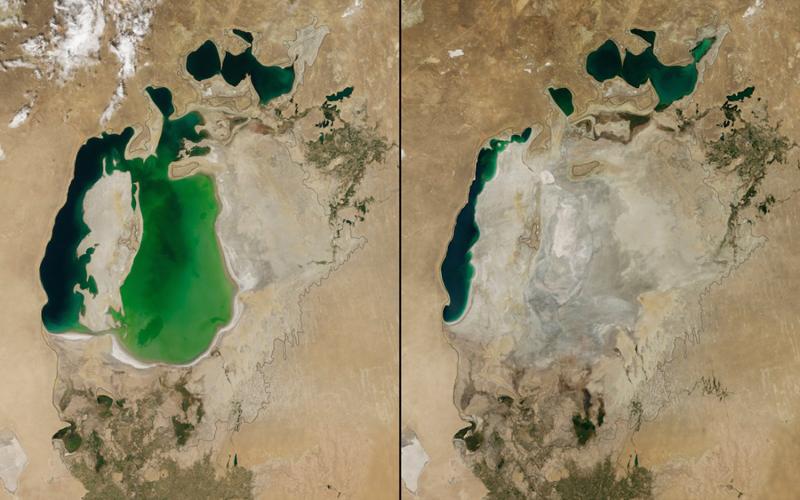 Обмеление Аральского моря Центральная Азия Слева: 2000 год Справа2014 год