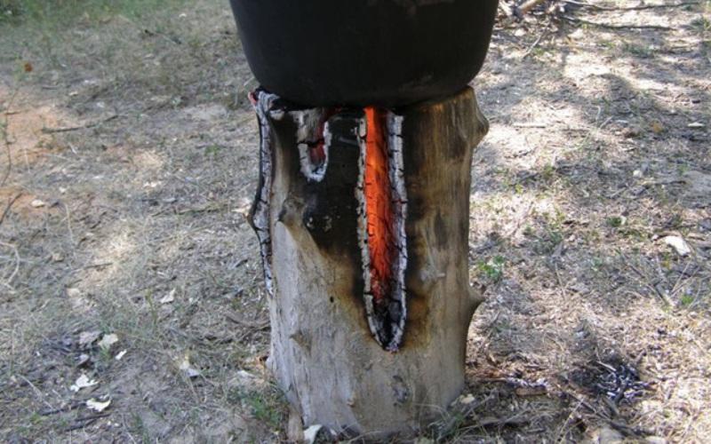 Таежная свеча Этот способ быстро обеспечит тебя источником огня, на котором удобно готовить пищу и греть воду, при любой погоде и даже в снег. Достаточно взять примерно полуметровое полено хвойных пород деревьев (на то эта свеча и таежная) диаметром около 30 сантиметров. Далее полено нужно будет расколоть на 4 или более части и снять немного древесины с сердцевины так, чтобы, когда полено будет вновь «собрано», внутри образовалась труба, в которую закидываются кора, бумага, трут, щепки и вообще все, что может воспламениться. Полено обвязывается в нижней части проволокой или обкладывается камнями, чтобы не развалилось, и поджигается. За счет постоянного притока воздуха с боков таежная свеча очень быстро загорается и горит порядка 1,5 часов, в зависимости от размеров. Этого более чем достаточно, чтобы приготовить себе пищу, высушить одежду и, при необходимости, сделать еще одну такую же лесную «плиту».