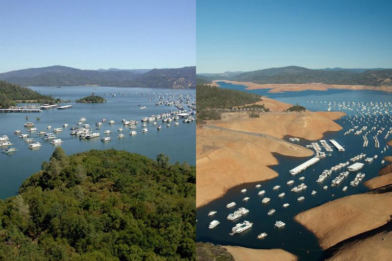 Обмелениеозера Оровилль Калифорния Слева:2011год Справа:2014 год