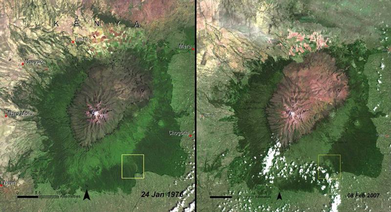 Вырубка лесов Кения  Слева:1976 год  Справа: 2007 год