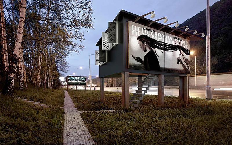 Рекламный щит Пара комнат, размещенных прямо в дорожном биллборде, может стать идеальным местом для жизни. Здесь можно организовать, к примеру, приют для бездомных. Такой проект уже представлен калифорнийской архитектурной студией Commercial Brothers.