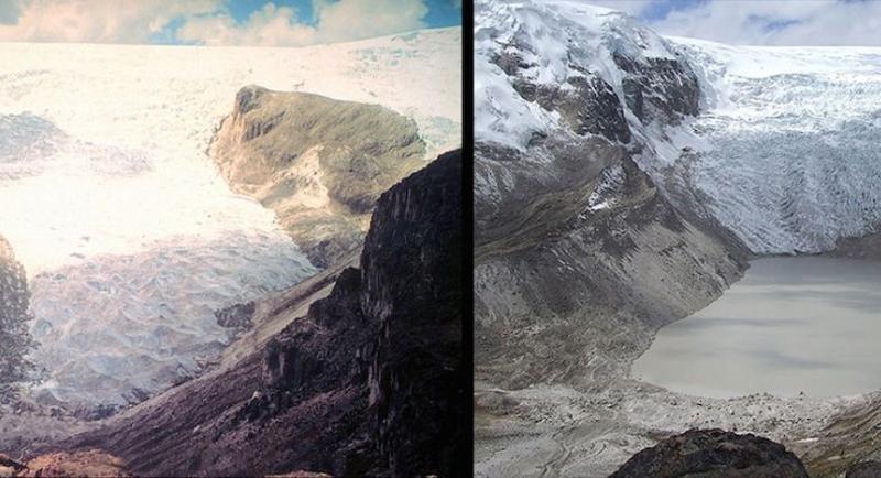 Таяние ледника Кори Калис  Перу Слева:1978 год Справа:2011год