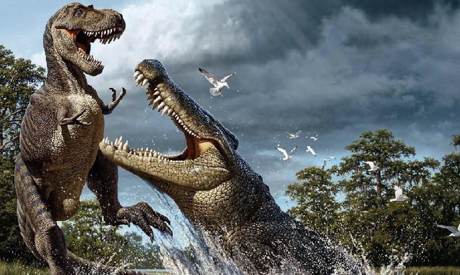 Дейнозух Около 80-73 млн. лет назад самым опасным обитателем отдельных водоемов был «ужасный крокодил» — вымерший род аллигаторовых. Он был доминирующим сверххищником в прибрежных районах восточной части Северной Америки. Более 14-15 метров в длину, весом свыше 12 тонн — по своим габаритам дейнозух в несколько раз превосходил современного крокодила. Таких размеров и крепких зубов ему было вполне достаточно, чтобы убить большого динозавра и гигантскую морскую черепаху.