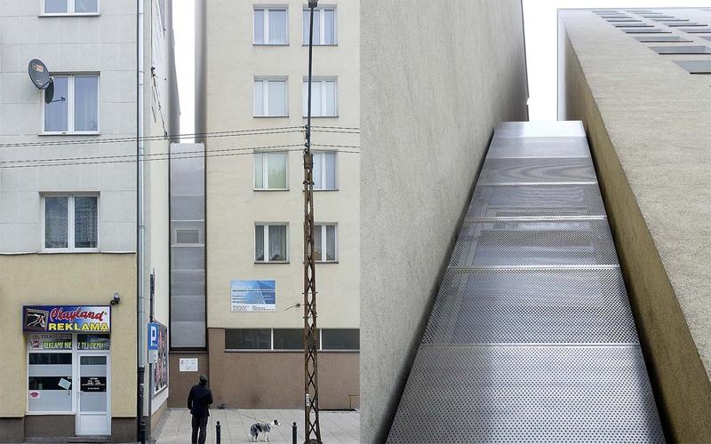 Keret House Ставший уже знаменитым Keret House размещен прямо между двух домов, на одной из узких улочек Варшавы. В двух уровнях дизайнер умудрился разместить все необходимые для комфортной жизни детали интерьера.