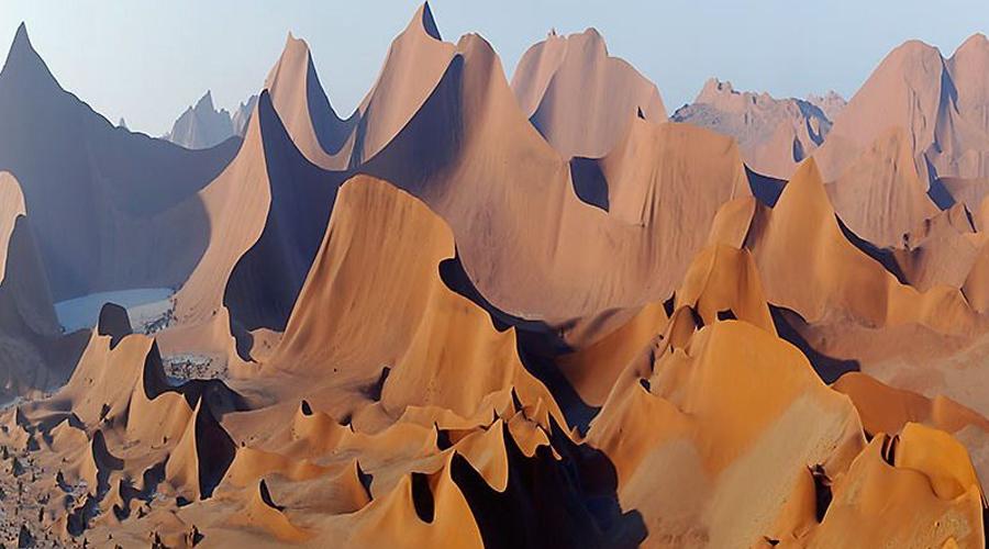 Намиб Республика Намибия Это название буквально переводится как «место, где ничего нет». Пустыня является одной из самых старых (возраст — 80 миллионов лет, в те времена еще жили динозавры!) и самых засушливых в мире. Тем не менее, и здесь есть жизнь. Кроме того, в пустыне разведаны богатые залежи вольфрамовых и урановых руд.