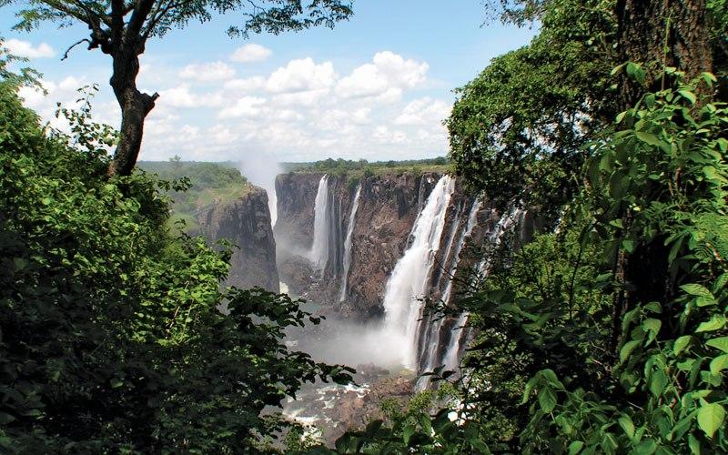 Трансграничный заповедник Окавонго-Замбези Площадь: 444000 км²  Природоохранная зона охватывает земли в Анголе, Ботсване, Намибии, Замбии и Зимбабве на Африканском континенте. В состав этого заповедника входят несколько национальных парков, среди которых национальный парк Чобе, Хванга, дельта реки Окавонго и водопад Виктория. Трансграничный заповедник создавался для поощрения туризма, а также для свободной миграции животных через границы.