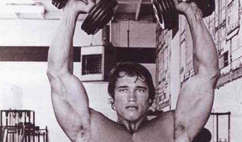 Жим Арнольда Что: дельтовидные мышцыПодходы: 3Повторения: 10 Как легко можно догадаться из названия, упражнение стало популярным благодаря Арнольду Шварцнеггеру, который считал, что оно отлично прорабатывает дельтовидные мышцы. Благодаря вращательным движениям кисти, вы достигаете большей нагрузки. Итак, сядьте прямо на скамью и плотно прижмитесь к спинке. В исходном положении гантели подняты на уровень шеи, а руки повернуты запястьями к туловищу. На выдохе поднимайте гантели вверх, в конечной точке плавно разворачивая руки ладонями наружу. Работайте плавно, без рывков.