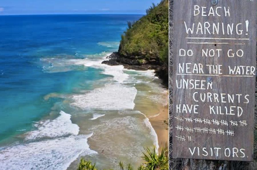 Ханакапиай, Гавайские острова Даже в таком райском месте, как Гавайи, не все пляжи подходят для купания. С мощным течением вблизи пляжа Ханакапиай не могут справиться даже опытные пловцы. Океан здесь всегда поджидает свою жертву: только за последние несколько лет он забрал по меньшей мере 83 жизни.