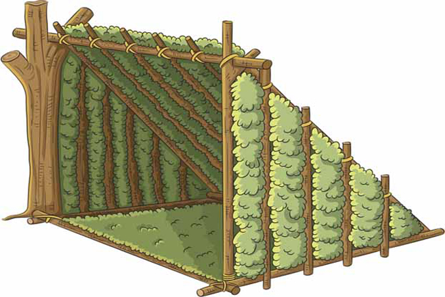 Построить убежище Нет ничего лучше, чем спать под звездами. По крайней мере, до того, как начнется дождь. Проще всего спастись от подобных сюрпризов природы можно построив навес. Сделать это поможет ваш браслет для выживания — с его помощью, вы легко свяжете ветки ближайшего дерева в надежную зеленую крышу.