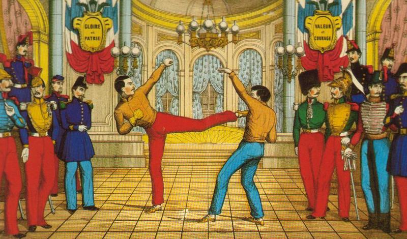 Марсельская игра Французское слово savate переводится буквально как «старый ботинок». Почему? Да просто потому, что моряки испокон веков новых ботинок не носили, а били супостатов изношенными и ничуть этого не стеснялись. По началу, сават звался «Марсельской игрой»: именно в этом городе матросы стали не только применять уже оформившийся боевой стиль, но и обучать ему друзей по палубе.