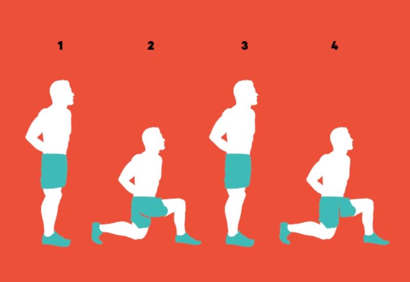 Попеременные боковые выпады Начните с позиции ноги на ширине плеч (1). Левой ногой сделайте выпад вперед и влево под углом 45 градусов (2). Шаг должен быть достаточно длинным так, чтобы в нижней позиции выпада бедро ведущей ноги было параллельным земле. Шагните правой ногой, чтобы ваши ноги снова соединились (3). И повторите все с начала, теперь с правой ноги (4).