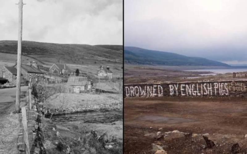 Деревня Кейпел Селин, Уэльс В 1965 году эта небольшая деревня в графстве Гвинед на севере Уэльса была затоплена в целях постройки водохранилища. Среди снесенных потоком воды зданий были небольшая часовня, школа, почтовое отделение и 12 домов и ферм. Шаг по уничтожению правительством целой деревни до сих пор остается спорным – и речь даже не о том, что эти люди потеряли свои дома, ао том, что это было одним из последних сообществ, члены которого говорили по-валлийски.