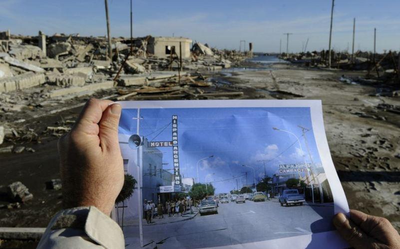 Вилья-Эпекуэн, Аргентина Более 20 лет туристическая деревня (а в прежние времена целый город) была погребена под водами озера Эпекуэн. 10 ноября 1985 года на аргентинскую Атлантиду обрушилось несчастье: на озере прорвало плотину, дома жителей Лаго-Эпекуэн начала постепенно заполнять вода. К 1993 году подводный город-призрак находился уже на глубине 10 метров. В последние годы уровень воды начал снижаться, обнажая городские руины.