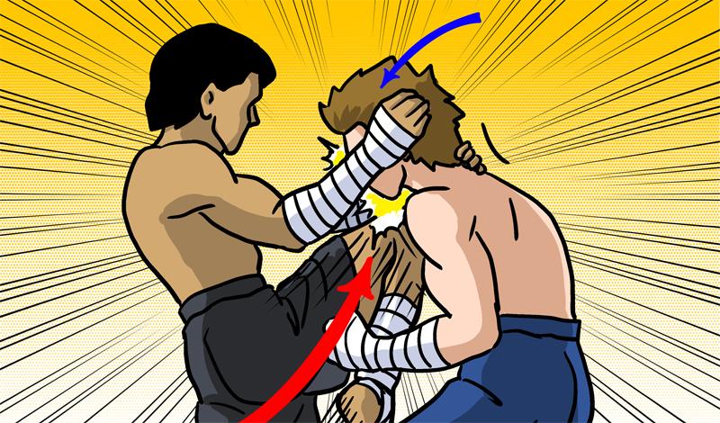 Колено в лицо Один из самых действенных ударов, выполнить который можно как с расстояния, так и вблизи. Постарайтесь захватить голову соперника и пригнуть ее вниз, а затем уже добавьте колено.