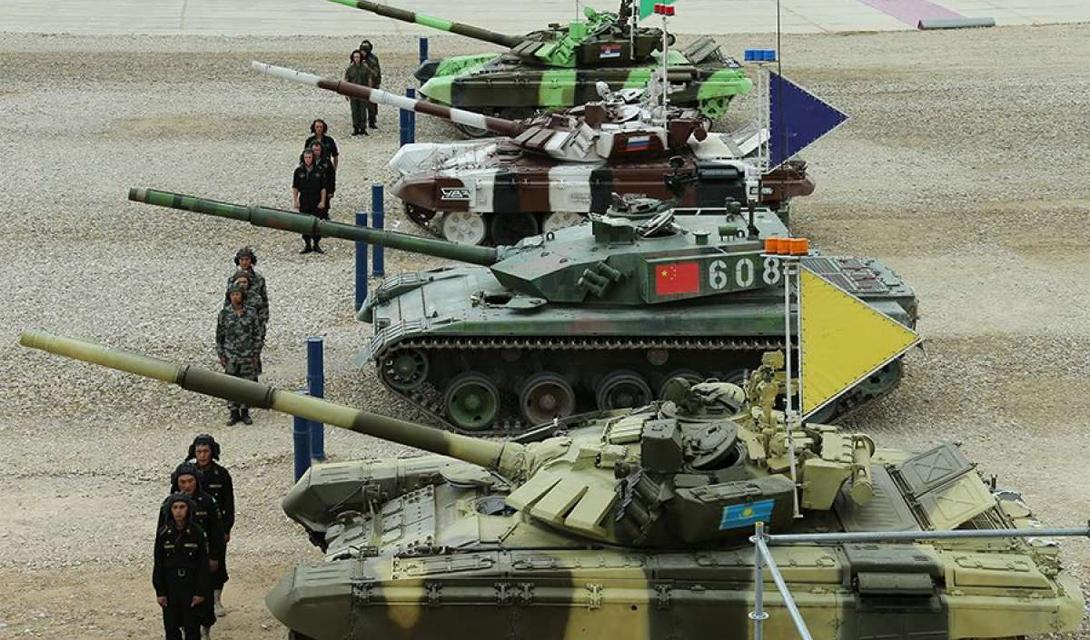 Финальный раунд танкового биатлона: первое место заняла Россия, второе забрал Китай на своем новом ZTZ-96A, третье и четвертое получили, соответственно, Сербия и Казахстан.