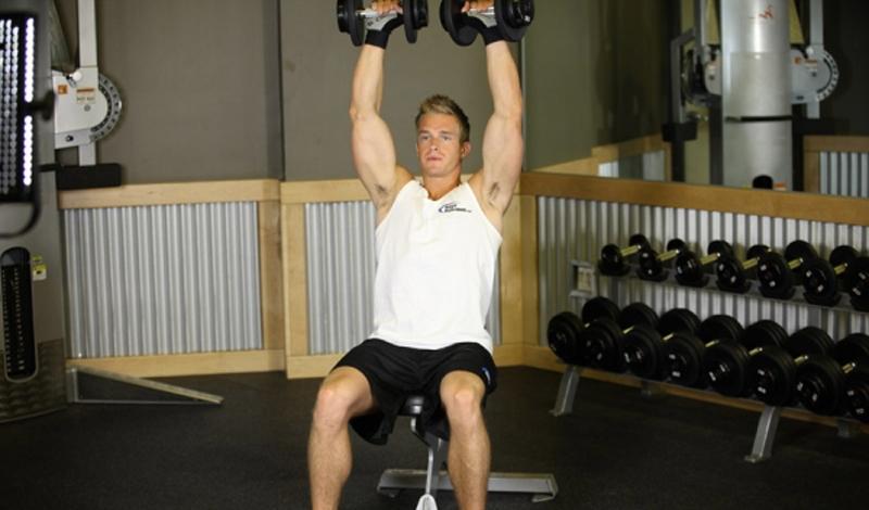 Жим гантелей сидя Практически аналогичное жиму штанги сидя упражнение, которое обязательно нужно включать в работу — чтобы организм не привыкал к нагрузкам одного типа. Старт начинается уже от ваших плеч, то есть, даже в статичном положении вы, дополнительно, нагружаете и мышцы спины.