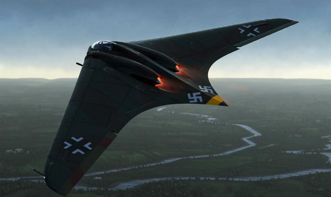 Horten Ho 229 Оборудованный двумя турбореактивными двигателями, парой пушек и несколькими ракетами, бомбардировщик Horten Ho мог развивать скорость до 600 миль в час. К сожалению, конструкторы не успели обкатать машину полностью, и Хортон успел сделать всего пару тренировочных полетов в конце 1944 года.