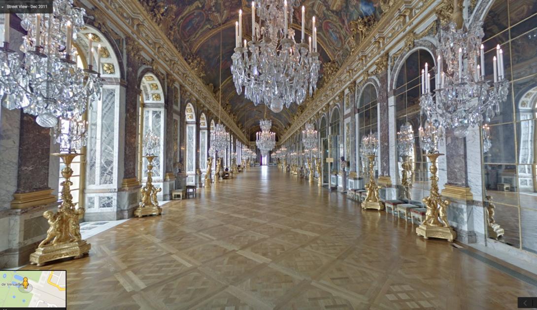 Парижский Зал Зеркал просто великолепен — и отлично виден на панорамах Google.