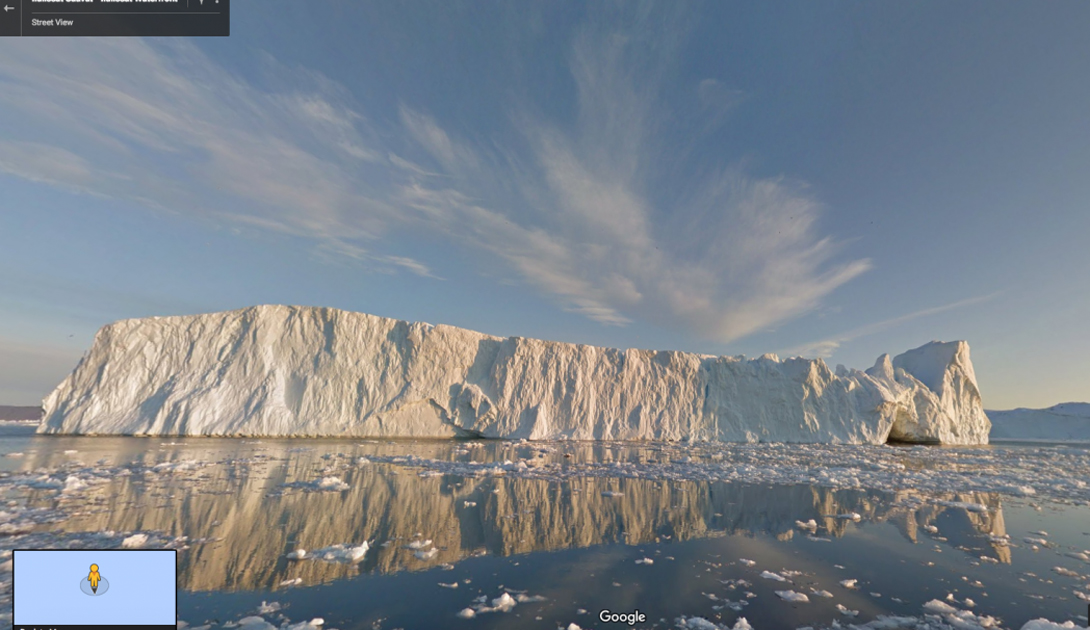 Здесь сотрудникам Google понадобилась баржа, чтобы как можно ближе подобраться к айсбергам у побережья Гренландии.