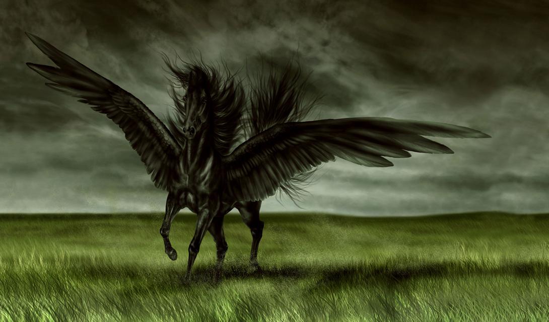 Пегас Это мифическое создание является отпрыском бога моря, Посейдона, и ужасной Медузы. Пегас изображается в виде красивого крылатого коня. Образ Пегаса любим художниками многих поколений, вдохновленных крылатым конем.