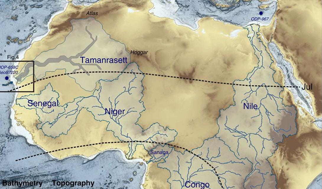 Французским исследователям удалось найти даже древнюю речную систему, подпитываемую большим количеством осадков. Ученые считают, что всю территорию Сахары пересекала река Таманрассет, впадающая в Атлантический океан в районе Мавритании.