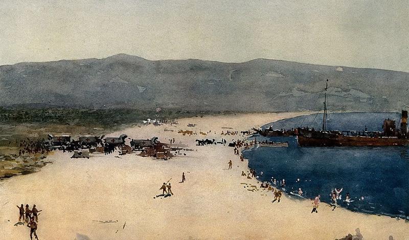 А вот и одна из картин самого Нормана Уилкинсона. Как видите, художник совсем не был кубистом, предпочитая работать в более традиционных стилях. Эта картина, созданная в 1915 году, называется «Пляж на Дарданеллах с солдатами, разгружающими медикаменты».
