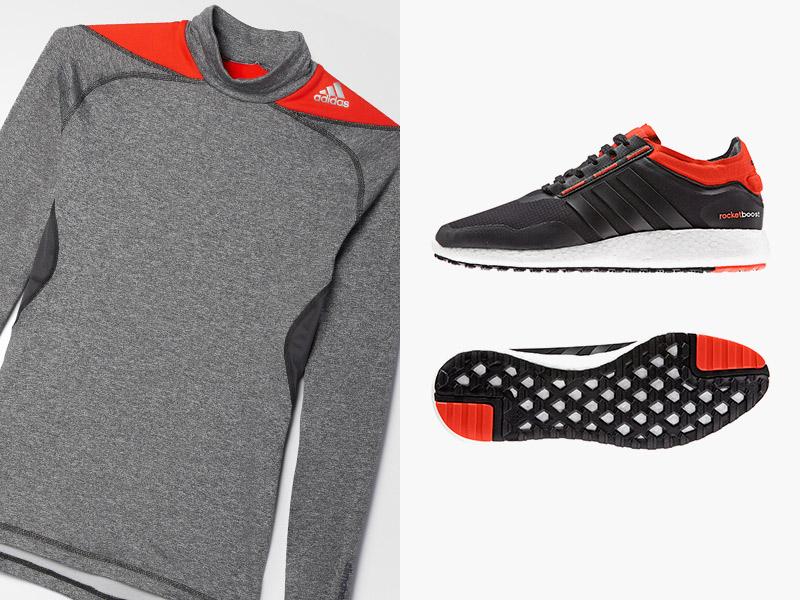 Набор для бега Adidas Экипировка для бега Adidas позволяет почувствовать настоящую скорость и комфорт. Кроссовки с технологией «boost», которая запасает и отдает энергию с каждым шагом, дают четкое ощущение поверхности. «Дышащий» верх Primeknit — гибкий и мягкий, но с достаточной поддержкой стопы. А одежда из материала climaheat надежно согревает и быстро сохнет. Специальный крой повторяет естественные движения тела, а плоские швы, спаянные ультразвуком, снижают риск раздражения кожи. Идеальная комбинация для тех, кто не желает прерывать тренировки даже в холодную погоду.