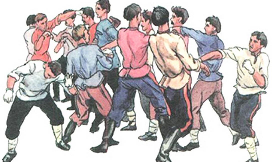 Пляска горбатого Русский кулачный бой — явление, скорее, культурного порядка. Участники никогда не отходили от негласного свода ритуалов подготовки. В Древней Руси, например, бойцы практиковали особый танец, «пляску горбатого» или «ломание». Человек старался передать движениями повадки медведя, надеясь, в ответ, получить силу этого зверя.